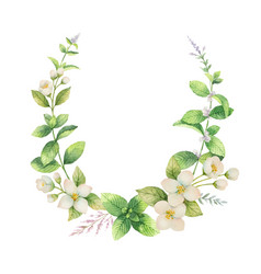 Watercolor frame of jasmine and mint vector