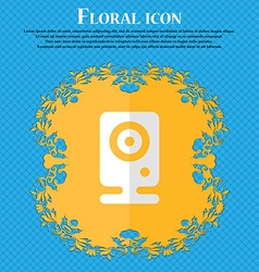 Web cam floral flat design on a blue abstract vector