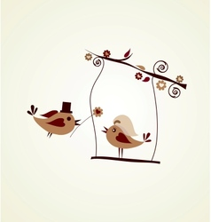 Wedding card groom bird giving a flower vector image