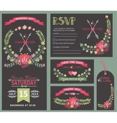Wedding invitation template setFloral wreath vector image vector image