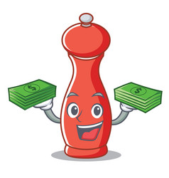 With money pepper mill character cartoon vector