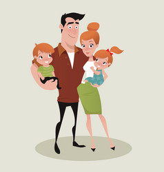 young happy family vector image