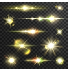 Shining star light rays set with lens fare vector