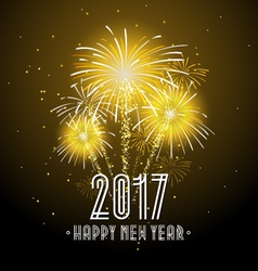 2017 happy new year fireworks night background vector