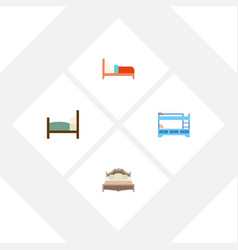 Flat mattress set of bed bedroom bunk bed and vector