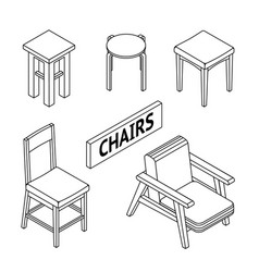 3d line drawn isometric chairs white background vector
