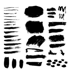 Set of grunge black paint ink brush vector