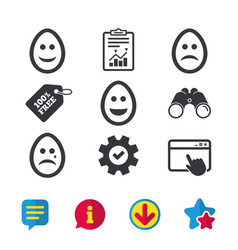 Eggs happy and sad faces signs easter icons vector