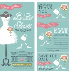 Bridal shower invitationbridal dressbouquet vector