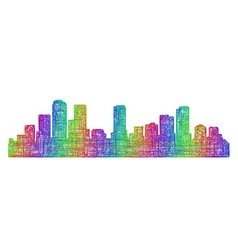 Denver skyline silhouette - multicolor line art vector