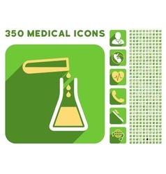 Liquid transfusion icon and medical longshadow vector