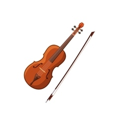 Violin with fiddlestick icon cartoon style vector