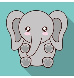 Kawaii elephant icon cute animal graphic vector
