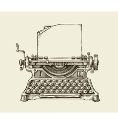 Hand drawn vintage typewriter sketch publishing vector