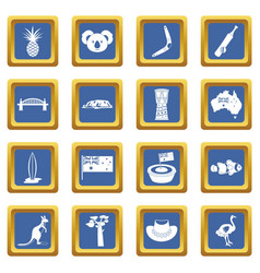 Australia travel icons set blue vector