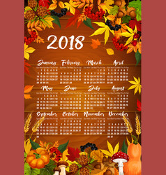 autumn maple leaf harvest calendar 2018 vector image vector image