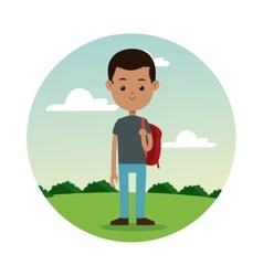 Back school boy gray shirt student landscape vector