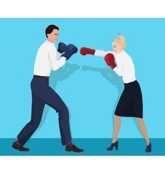 Businessman in boxing gloves having a fight with vector image