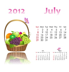 calendar 2012 with baskets vector image vector image