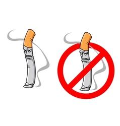 Cartoon unhappy cigarette character vector