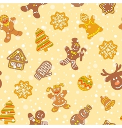 Christmas cookies flat icons seamless pattern vector image vector image