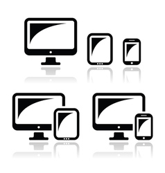 Computer tablet smartphone icons set vector image