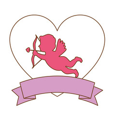 cupid angel with heart vector image