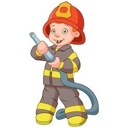 cute cartoon boy fireman vector image