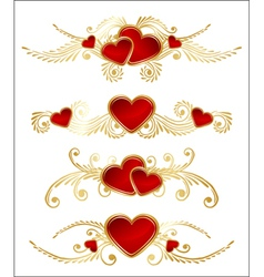 floral set with hearts vector image vector image