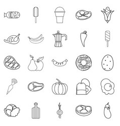 Food for all icons set outline style vector