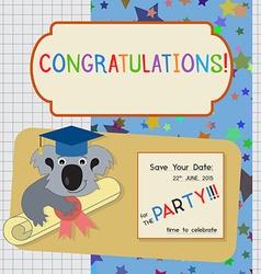 Graduation Congratulation Invitation Template with vector image vector image