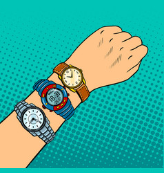 Hand with wristwatch pop art vector