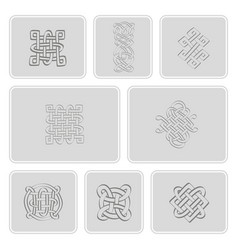 Icons set with celtic art and ethnic ornaments vector