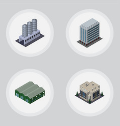 Isometric construction set of warehouse company vector