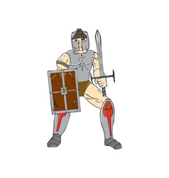 Knight wielding sword and shield cartoon vector