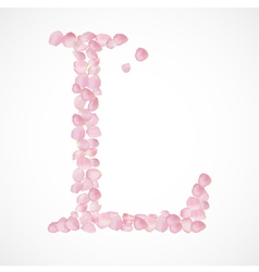 L letter Alphabet from pink petals of rose vector image vector image