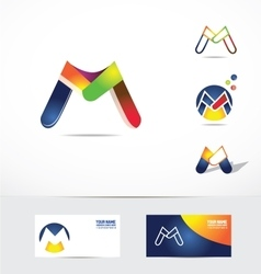 Letter m logo icon colors vector