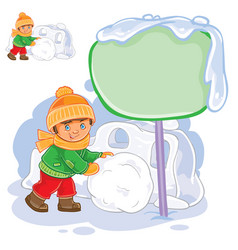 Little boy rolling a snowball and building vector