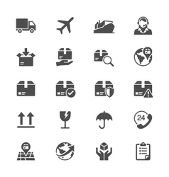 Logistics and shipping flat icons vector image