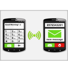 Mobile Phones with SMS vector image vector image