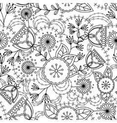 Poppy and dandelion seamless pattern coloring vector image vector image