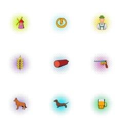 Pub icons set pop-art style vector