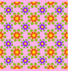 seamless pattern of red and purple flowers vector image vector image