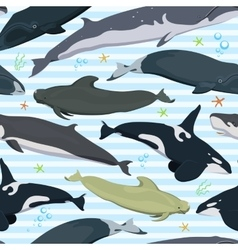 seamless pattern with whales modern texture vector image vector image