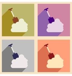 Set flat icons with long shadow snowdrift shovel vector