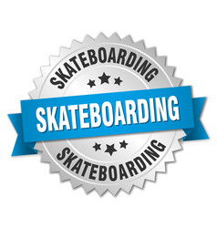 Skateboarding 3d silver badge with blue ribbon vector