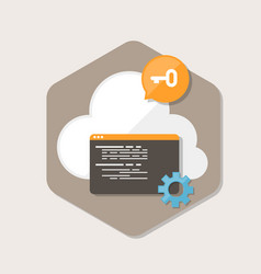 Software secure cloud icon in flat style vector