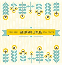 Wedding design elements - flowers and ribbon vector
