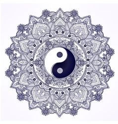 Yin and yang mandala symbol vector