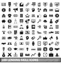 100 lending skill icons set simple style vector